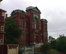 Exterior view of front facade, Masonic Temple, Cathedral Street, St. John's, 2004; HFNL 2005