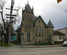 View of the main (north) face of the First Scandinavian Mission Church, Winnipeg, 2004.; Historic Resources Branch, Manitoba Culture, Heritage, Tourism and Sport, 2005
