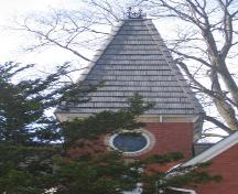 Detailed view of the tower with stained glass oculus of 200 Smith Street, 2007.; Lindsay Benjamin, 2007.