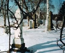 Showing overview of cemetery in winter; PEI Genealogical Society, 2007