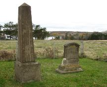Showing two headstones; Bill Glen, PEI Genealogical Society, 2007