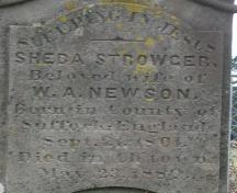 Detail of Sheba (Strowger) Newson stone; Bill Glen, PEI Genealogical Society, 2007