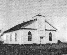 1975 view of the Melville United Church that was once located on the same site of the cemetery, Pugwash, NS.; North Cumberland Historical Society, 1975