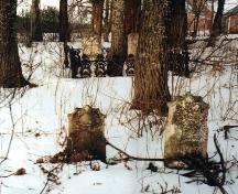 Showing overview of cemetery in winter; Bill Glen, PEI Genealogical Society, 2007