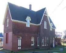 North (front) and east elevations, Pugwash Train Station, Pugwash, NS, 2009.; Heritage Division, NS Dept of Tourism, Culture and Heritage, 2009