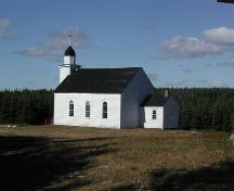 South side of Saint Margaret of Scotland Catholic Church, River Denys Mountain, Nova Scotia, 2002.; Inverness County Heritage Advisory Committe, 2002