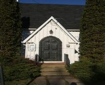 Main entry, St. Andrew's Anglican Church, Wallace, NS, 2009.; Heritage Division, NS Dept of Tourism, Culture and Heritage, 2009