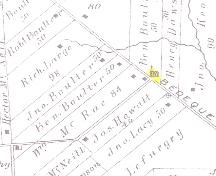 Showing location of former church; Meacham's Illustrated Historical Atlas of PEI, 1880