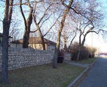 View of one of the brick entrance gates of the Stone Fence, Brandon, 2005.; Historic Resources Branch, Manitoba Culture, Heritage, Tourism and Sport, 2005