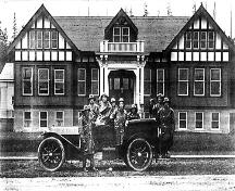 Port Moody Fire Truck Team in front of City Hall, 1914; Port Moody Station Museum 971.37.1