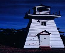 Front elevation of Hampton Lighthouse on Chute Bay, NS, 2002.; Hampton Lighthouse and Historical Society March 2002