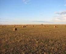View north across site area, currently a hay field, 2007.; Government of Saskatchewan, Marvin Thomas, 2007.