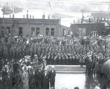 View of 77 Water Street, behind spectators attending the opening of the War Memorial, July 1, 1924.; Memorial University Geography Collection 2008