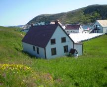 View of rear facade and overlooking Battle Harbour. Photo taken 2008.; HFNL 2008