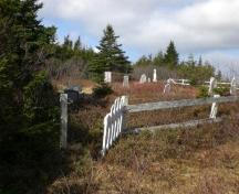 Photo of Salvation Army Cemetery, Arnold's Cove, NL, showing fence and gravemarkers, 2008; Courtesy of Iris Brett, 2008