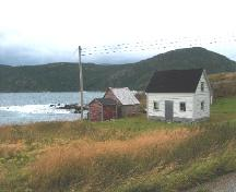 Photo view of William and Cecilia O'Neill Property, Conche, showing house, stable and store, 2008; Joan Woodrow/HFNL 2008