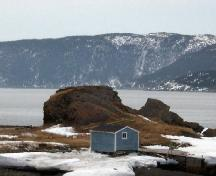 Photo view of The Quidnock and Stage Cove environs, Conche, NL, 2007.; Courtesy of French Shore Historical Society, 2008