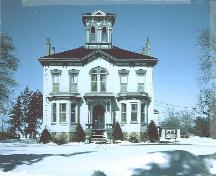 Front view of Castle Kilbride, showing its Italianate style, 1985.; Wilmot Township, 1985.