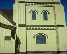 Detail of tower windows, St. James' Anglican Church, Mahone Bay, NS, 2009.; Heritage Division, NS Dept. of Tourism, Culture and Heritage, 2009