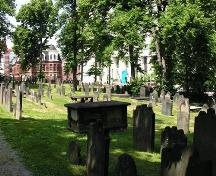 Old Burying Ground, view looking towards Spring Garden Road, Halifax, NS, 2005.; Heritage Division, NS Dept. of Tourism, Culture and Heritage, 2005