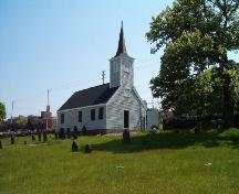 View from cemetery of rear and north elevations, Little Dutch Church, Halifax, NS, 2004.; Heritage Division, NS Dept. of Tourism, Culture and Heritage, 2004.