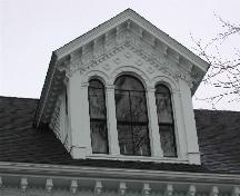 This photograph shows the ornate dormer, 2005; City of Saint John