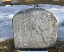 Slate gravemarker of Peter Zwicker Sr.(d. 1789), in  German with Gothic script, Bayview Cemetery, Mahone Bay NS, 2009.; Heritage Division, NS Dept. of Tourism, Culture and Heritage, 2009.