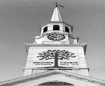 Detail of the Greenock church bell-tower, showing the staged spire mounted over the entry, pediment, and classical mouldings, 1994.; Parks Canada Agency/Agence Parcs Canada, Katherine Spencer-Ross, 1994.