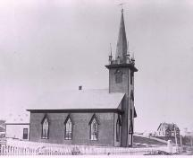 Side elevation  of St. John's Evangelical Lutheran Church, Mahone Bay, NS, circa 1890.; Courtesy of Settlers Museum, Mahone Bay, NS.