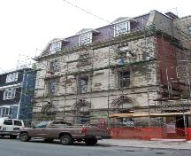 North eastward view of 214 Duckworth Street showing restoration process.  Photo taken June 13, 2007.; Deborah O'Rielly HFNL 2007