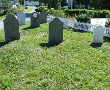 Photo showing headstones, Chapel Cemetery, Holyrood, NL, 2007/08/28; L Maynard, HFNL, 2008