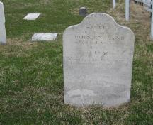 Photo of John England gravemarker, taken 2007; Town of St. Anthony, 2008