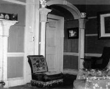 Interior view of the Macdonell House, showing evidence of the originally rich interior materials and finishes, ca.1960.; Parks Canada Agency, Agence Parcs Canada, ca. 1960.