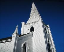 Steeple of the United Baptist Church, Mahone Bay, NS, 2009.; Heritage Division, NS. Dept. of Tourism, Culture and Heritage, 2009