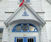 Detail of pediment over main entrance, St. Mark's Masonic Lodge, Baddeck, NS, 2009.; Dept. of Tourism, Culture and Heritage, Province of NS, 2009