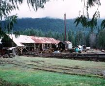View of McLean Mill National Historic Site of Canada, showing the location of the site within a forested area close to Port Alberni, 1996.; Parks Canada Agency / Agence Parcs Canada, 1996.