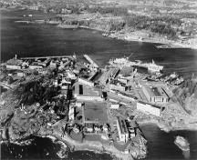 Aerial view of Esquimalt Naval Sites, showing the view facing north, 2001.; Parks Canada Agency / Agence Parcs Canada, 2001.