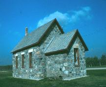 Side view of Orkney School showing fieldstone construction, 1988; Government of Saskatchewan, Terry Sinclair, 1988
