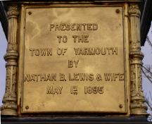 Presentation plaque on the Lewis Fountain, Yarmouth, NS, 2006.; Heritage Division, NS Dept. of Tourism, Culture & Heritage, 2006