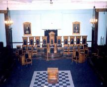 Interior view of the Masonic Memorial Temple, showing the main Blue lodge room, 2000.; Parks Canada Agency / Agence Parcs Canada, A. Waldron, 2000.