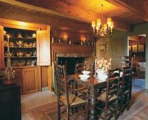 View of dining room, including fireplace, mantle, woodwork and ceiling beams, North Hills Museum, Granville Ferry, NS, 2004.; Annapolis Heritage Society, 2004.