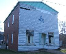 Front and east sides, Acadia Lodge No. 13 A.F. & A.M., Pugwash, NS, 2009.; Heritage Division, NS Dept of Tourism, Culture and Heritage, 2009