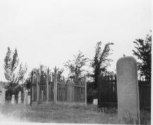Historic view of tombstones in Pioneer Cemetery, 1884; City of Kamloops Museum and Archives #3258