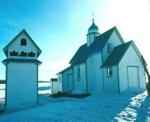 view of St. Michael's Ukrainian Catholic Church with detached belfry, 1993; Government of Saskatchewan, Frank Korvemaker, 1993
