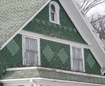 Showing diamond shingle patterns; Wyatt Heritage Properties, 2009