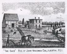 Engraving of Residence of John Woodman; Meacham's Illustrated Historical Atlas of PEI, 1880