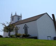 Rear elevation with profile of Old Trunk 3 elevation, St. Peter's Lutheran Church, Chester, Nova Scotia, 2007.; Heritage Division, Nova Scotia Department of Tourism, Culture and Heritage, 2007.