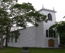 Central Street elevation, including tower, St. Stephen's Anglican Church, Chester, NS, 2007.; Heritage Division, Nova Scotia Department of Tourism, Culture and Heritage, 2007