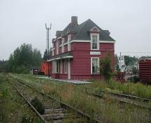 North east corner, Orangedale Railway Station, Orangedale, Nova Scotia, 2002.; Inverness County Heritage Advisory Committe, 2002.