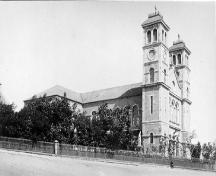 Historic image of the Basilica, date unknown.  View looking at western facade.; HFNL 2007